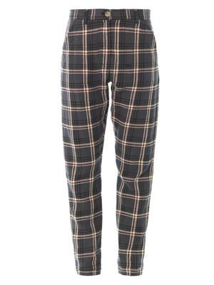 Umber flannel check boyfriend trousers