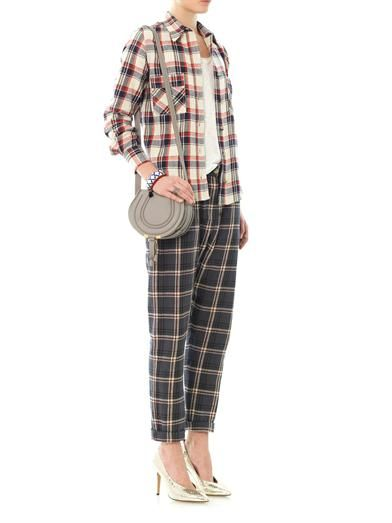 Isabel Marant Étoile Umber flannel check boyfriend trousers