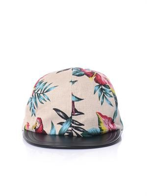 Darlen floral print leather peak cap