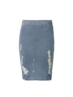 Le High distressed denim pencil skirt