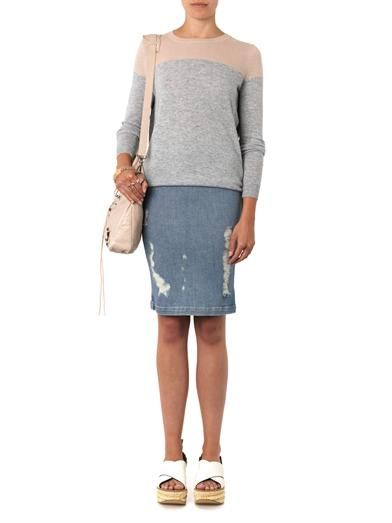Frame Denim Le High distressed denim pencil skirt