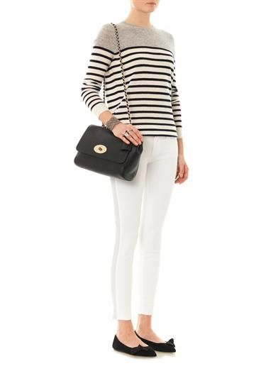 Frame Denim Le Luxe leather tux stripe mid-rise skinny jeans