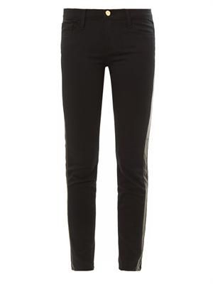 Le Luxe leather tux stripe mid-rise skinny jeans
