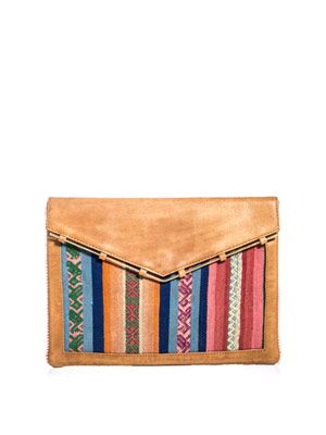 Leather and calf-hair envelope clutch