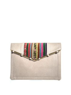 Leather embroidered envelope clutch