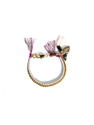 Woven chain and thread bracelet
