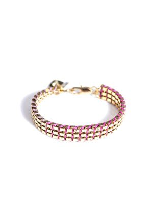 Triple box chain and thread bracelet