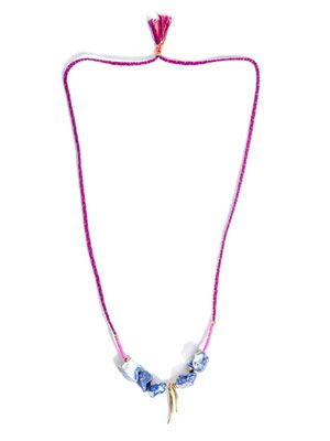 Lapis bead braided necklace