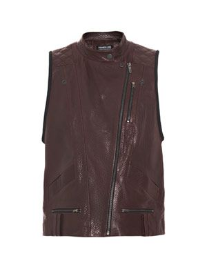 Leather-neoprene gilet