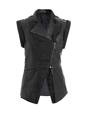 Callahan leather and linen gilet