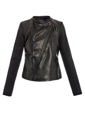 Sofie leather scuba sleeve biker jacket