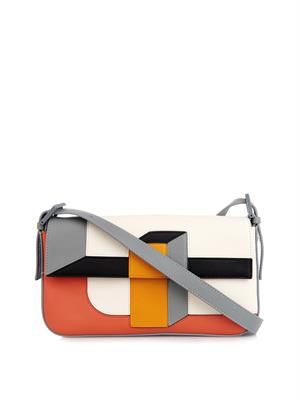 Baguette graphic leather bag