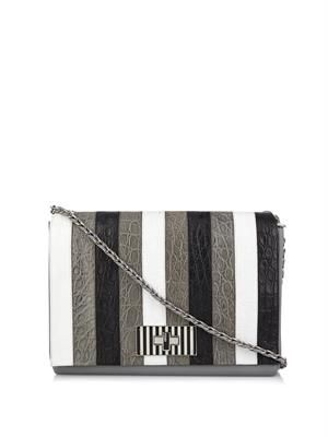 Bequin stripe crocodile skin bag