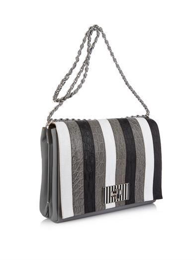 Fendi Bequin stripe crocodile skin bag