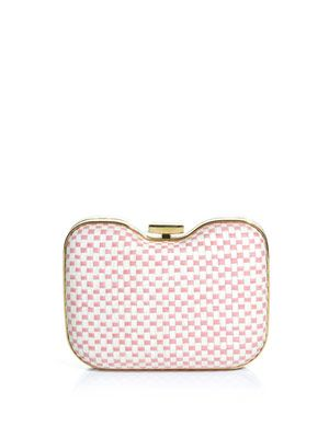 Giano straw and leather clutch