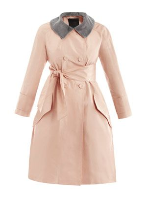 Taffeta and mink collar coat