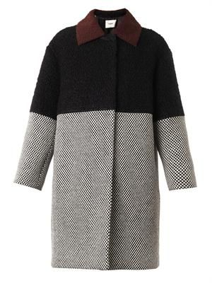 Contrast-panel wool coat