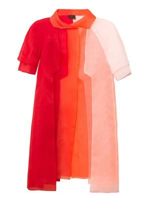 Layered silk-organza evening coat
