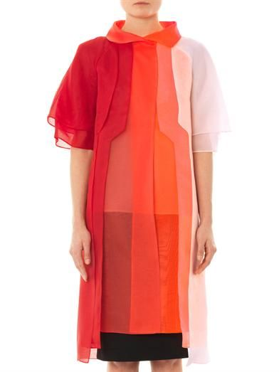 Fendi Layered silk-organza evening coat