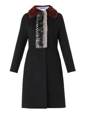 Fur-trim double-faced cashmere coat
