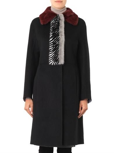 Fendi Fur-trim double-faced cashmere coat