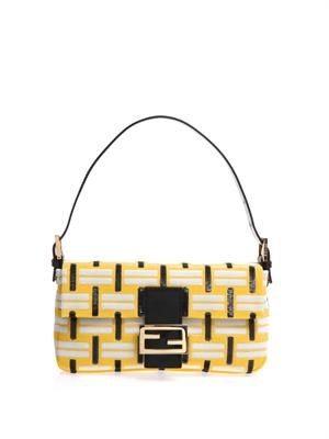 Baguette graphic-weave sequin bag