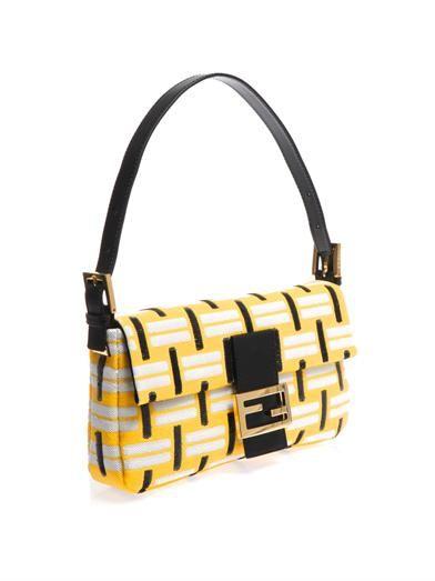 Fendi Baguette graphic-weave sequin bag
