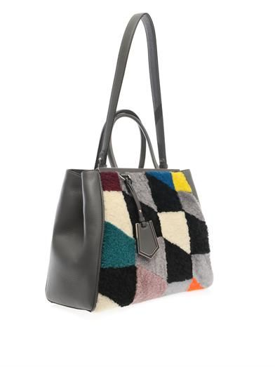 Fendi 2Jours shearling and leather tote