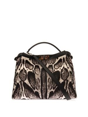 Peekaboo large calf-hair tote