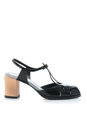 Contrast heel patent leather sandals