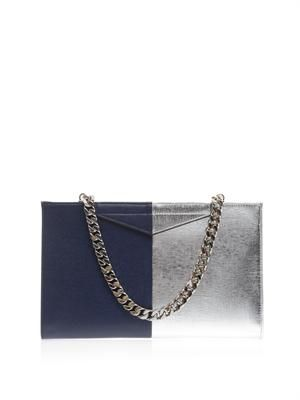 Large bi-colour leather clutch