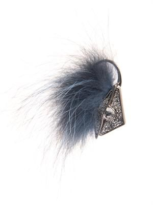 Fur and crystal earring