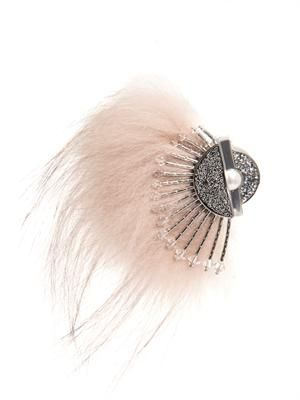 Fur and crystal brooch