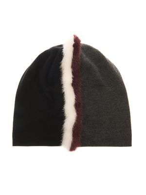 Fur-trimmed contrasting-colour beanie