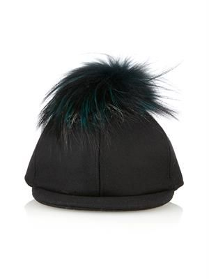 Fur pompom baseball cap