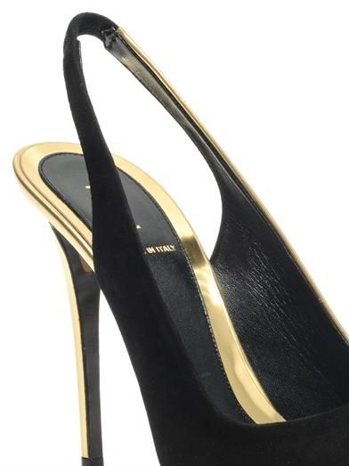 Fendi Bi-colour leather and suede slingbacks