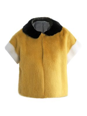 Tri colour cropped mink fur jacket