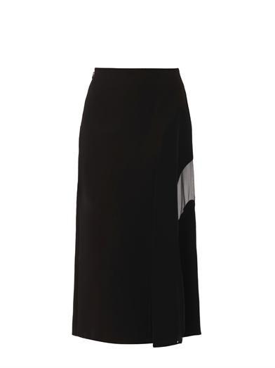 Fendi Sheer-panel double-crepe skirt