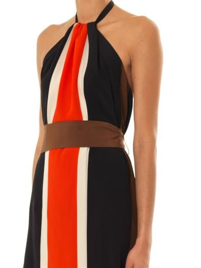 Fendi Colour-block fringe silk dress