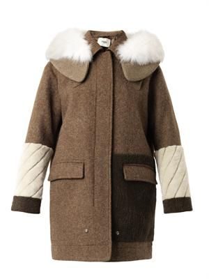 Fur-trimmed wool parka