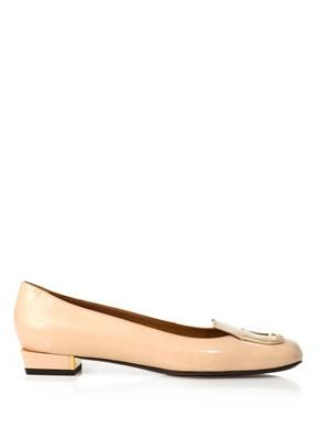 Gold-plate patent leather flats
