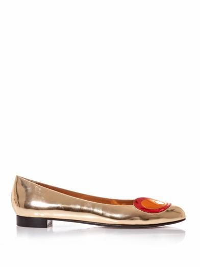Fendi Bug Eyes metallic leather flats