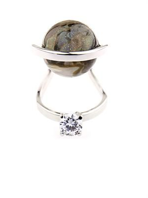 Mother-of-pearl and crystal ring