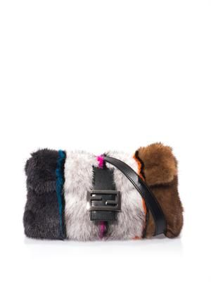 Baguette mink and fox fur bag