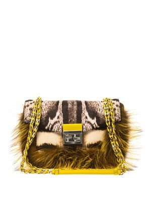 Be Baguette calf-hair and fox-fur bag