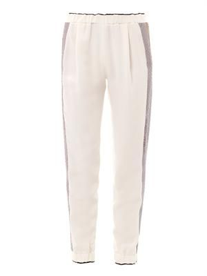 Python-stripe silk jogging trousers