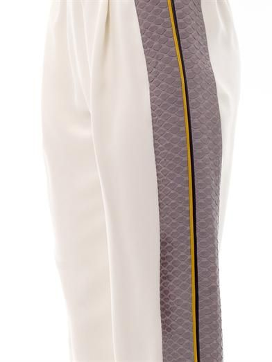 Fendi Python-stripe silk jogging trousers