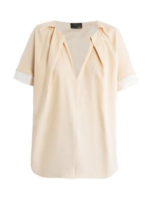 Pleated neckline silk blouse