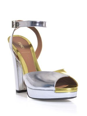 Bi-colour metallic platform sandals