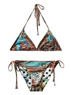 Lemon and foulard-print bikini